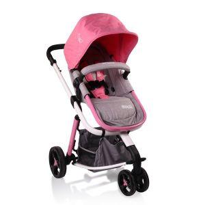 Комбинирана бебешка количка Sarah CANGAROO - сив/розов