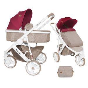 Бебешка количка 2в1 CALIBRA 3 Lorelli - Beige&Red