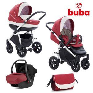 Комбинирана бебешка количка 3в1 Forester Buba - червена