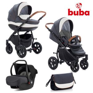 Комбинирана бебешка количка 3в1 Forester Buba - графит