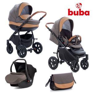 Комбинирана бебешка количка 3в1 Forester Buba - кафява