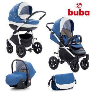 Комбинирана бебешка количка 3в1 Forester Buba - синя