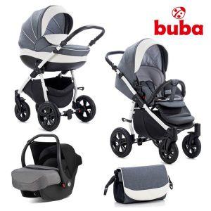 Комбинирана бебешка количка 3в1 Forester Buba - сива