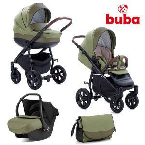 Комбинирана бебешка количка 3в1 Forester Buba - зелена