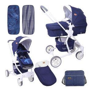Бебешка количка ASTER LORELLI - Dark Blue FLOWERS