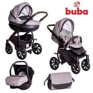 Бебешка количка 3в1 Estilo BUBA - черна/светло сива