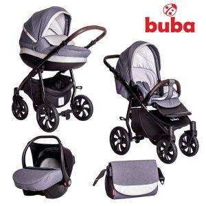 Бебешка количка 3в1 Estilo BUBA - тъмно сива