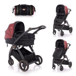 Комбинирана бебешка количка ADRIA LORELLI - Black&Red