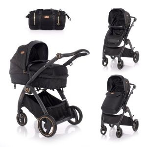 Комбинирана бебешка количка ADRIA LORELLI - Black