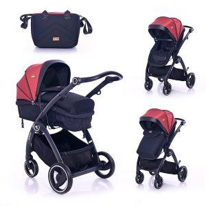Комбинирана бебешка количка ADRIA LORELLI - червена