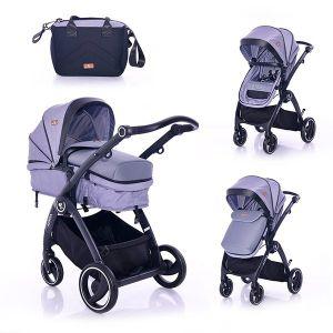 Комбинирана бебешка количка ADRIA LORELLI - сива