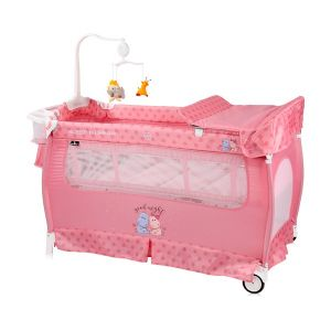 Бебешка сгъваема кошара Slеep`n Dream 2 Layers Plus Lorelli - Pink HIPPO