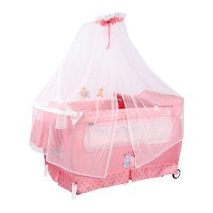 Бебешка сгъваема кошара Slеep`n Dream 2 Layers Plus Rocker (балдахин) Lorelli - Pink HIPPO