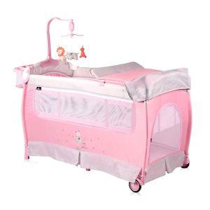 Бебешка сгъваема кошара Slеep 'N' Dream 2 Layers Plus Lorelli - розова