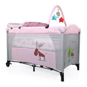 Бебешка сгъваема кошара Happy Baby MONI - розова