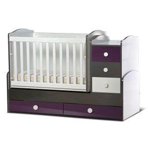 Детско легло Ниа - серия гланц Dizain Baby - бял + графит + лилав