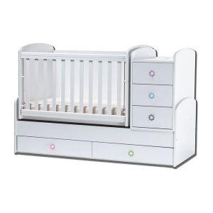 Детско легло Ниа Dizain Baby - бяло / подвижна решетка
