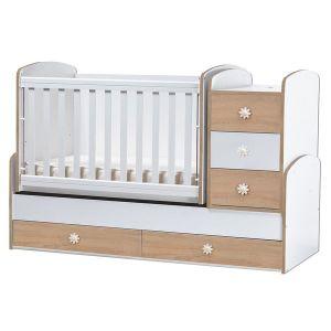 Детско легло Ниа Dizain Baby - бял + дъб / подвижна решетка