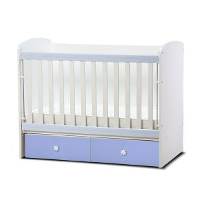 Детско легло Тони 60х120 Dizain Baby - бял + син / подвижна решетка