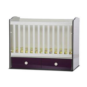 Детско легло Тони 60х120 - серия гланц Dizain Baby - бял + виолет / подвижна решетка