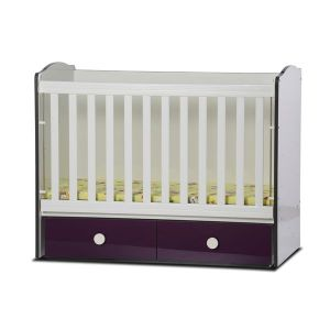 Детско легло Тони 70х140 - серия гланц Dizain Baby - бял + виолет / подвижна решетка