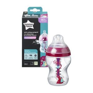 Шише за хранене ANTI-COLIC+ 260ml. 0м+ Tommee Tippee - розово с декорация