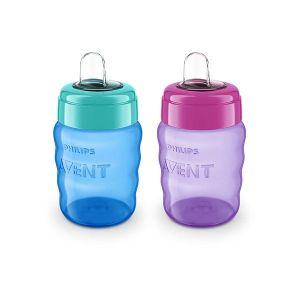 Чаша за лесен преход без дръжки 260 ml. Philips AVENT - розова/синя