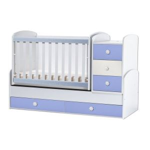 Детско легло Ниа Dizain Baby - бял + син / подвижна решетка