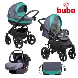 Комбинирана бебешка количка 3в1 Bella Buba - pewter/green