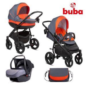 Комбинирана бебешка количка 3в1 Bella Buba - pewter/orange