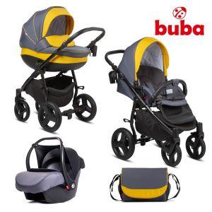 Комбинирана бебешка количка 3в1 Bella Buba - pewter/yellow