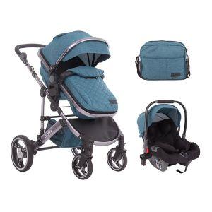 Бебешка количка с трансформиращ кош 3в1 D`ora KikkaBoo - Green