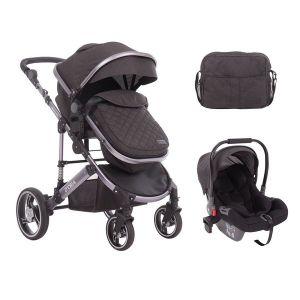 Бебешка количка с трансформиращ кош 3в1 D`ora KikkaBoo - Dark Grey