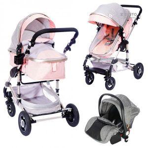 Бебешка комбинирана количка 3в1 Fontana ZIZITO - розов/сив