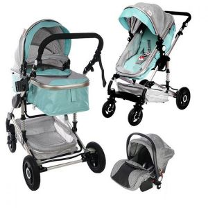 Бебешка комбинирана количка 3в1 Fontana ZIZITO - син/сив