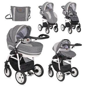 Детска комбинирана количка 3в1 KARA /въздушни гуми/ Lorelli - Light&Dark Grey