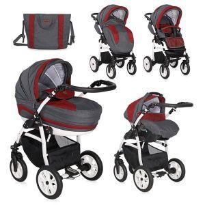 Детска комбинирана количка 3в1 KARA /въздушни гуми/ Lorelli - Red&Black