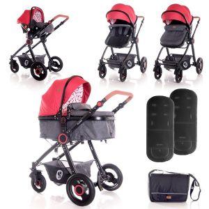 Комбинирана детска количка ALEXA SET LORELLI - Red&Black LIGHTHOUSE