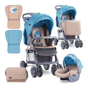Детска количка FOXY SET Lorelli - Blue&Beige MOON BEAR
