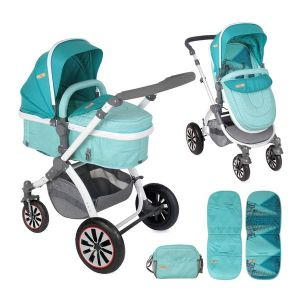 Комбинирана детска количка AURORA /въздушни гуми/ Lorelli - Aquamarine London