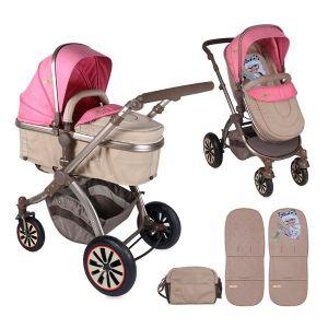 Комбинирана детска количка AURORA /въздушни гуми/ Lorelli - Rose&Beige Fashion Girl