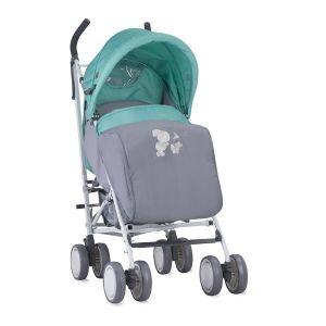 Лятна детска количка с покривало IDA LORELLI - Grey&Green Bunnies