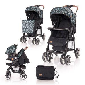 Детска комбинирана количка INES SET LORELLI - Black LEAVES
