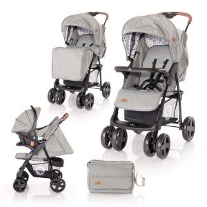 Детска комбинирана количка INES SET LORELLI - Dark Grey LIGHTHOUSE