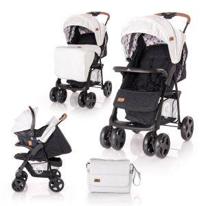 Детска комбинирана количка INES SET LORELLI - Grey&Black CROSS