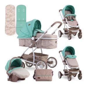 Детска комбинирана количка S-500 SET LORELLI - Beige&Green DOTS