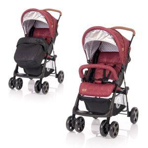 Бебешка лятна количка с покривало TERRA LORELLI - Red&Black DOTS