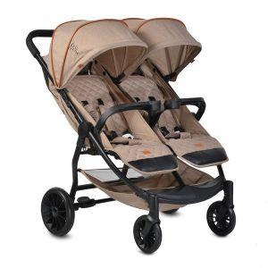 Детска количка за близнаци Rome Moni - бежова