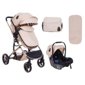Бебешка комбинирана количка 3в1 Tiara KikkaBoo - Beige
