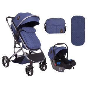Бебешка комбинирана количка 3в1 Tiara KikkaBoo - Dark Blue